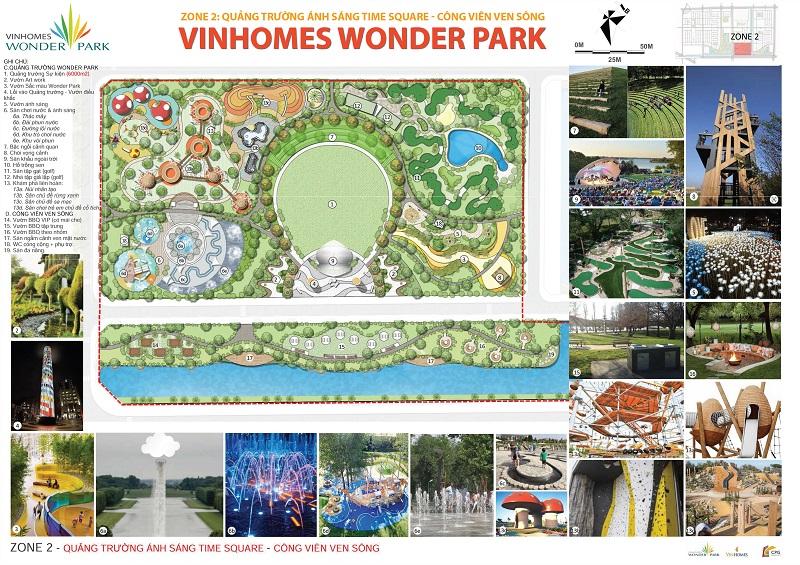 Quảng trường ánh sáng và công viên ven sông vinhomes wonder park đan phượng